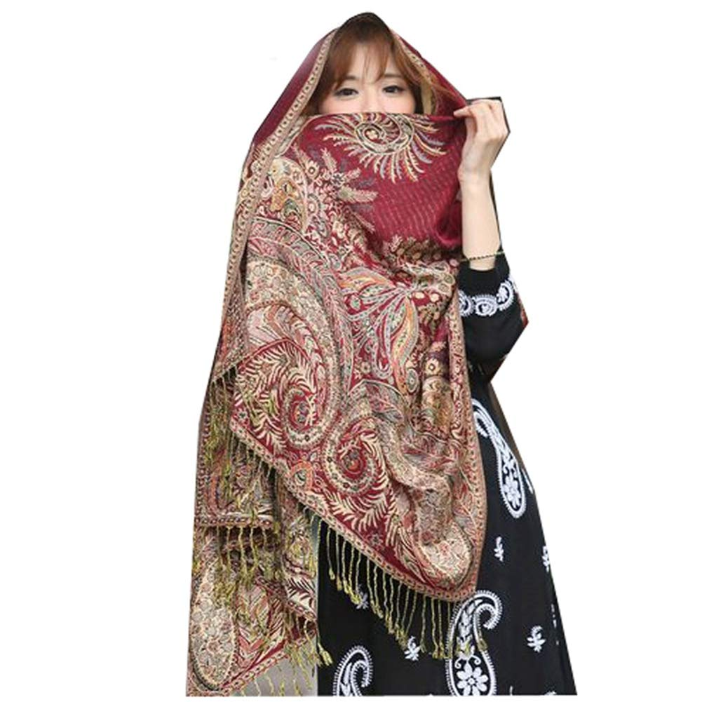 Women Polyester Elegant Fashion Print Floral Paisley Shawl Wrap Windproof Fashion Casual Scarf