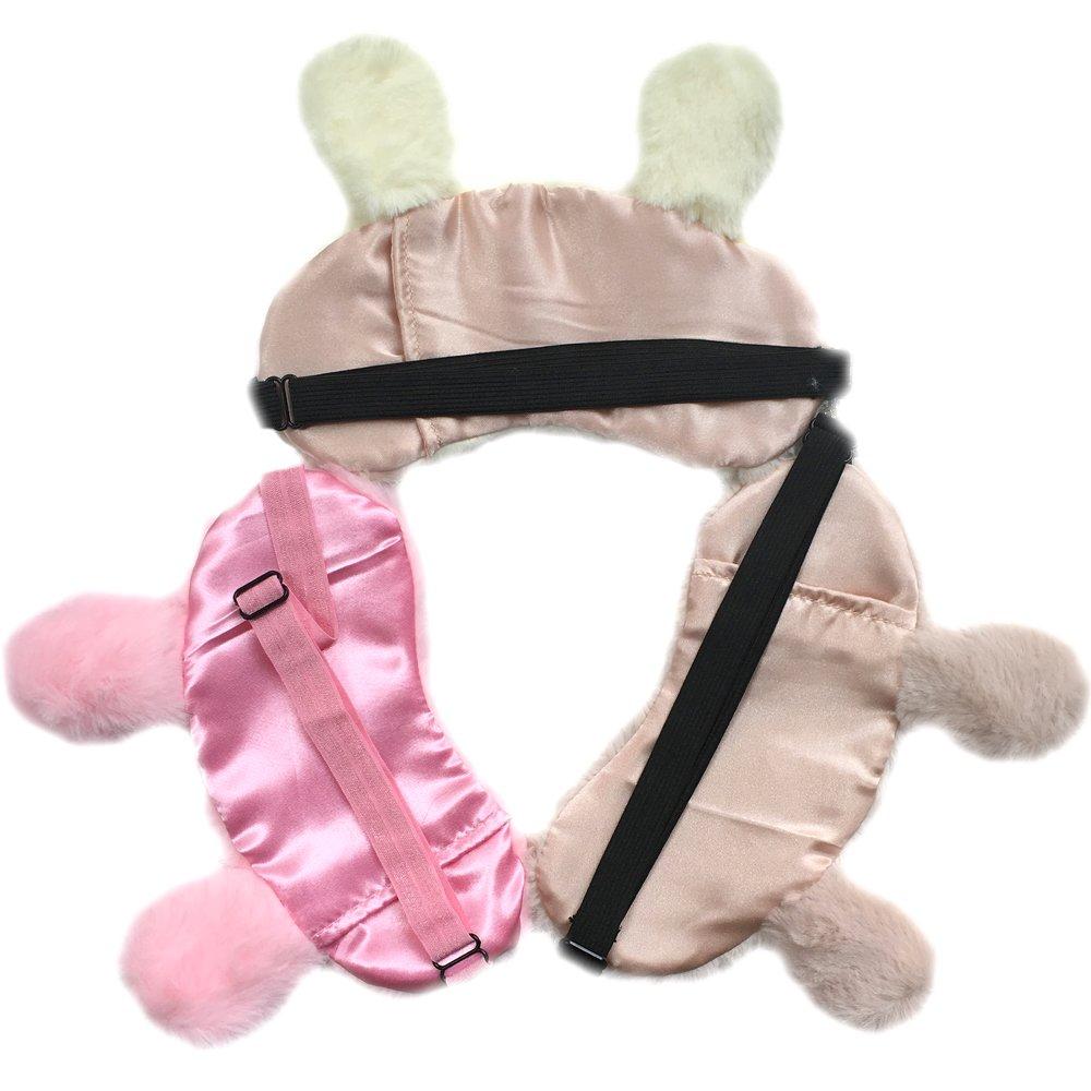 Masque en soie pour les yeux f/ête Pour adultes et enfants Zhichen Bandeau r/églable sommeil Motif 3D de lapin ou koala voyage Pour yoga