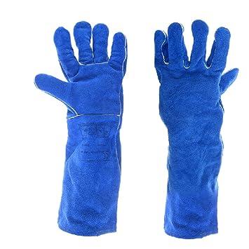 Soldadores De Guantes De Soldadura Largos Azules Soldadores Resistentes Al Desgaste Engrosamiento Guantes De Barbacoa De Alta Temperatura,XL: Amazon.es: ...