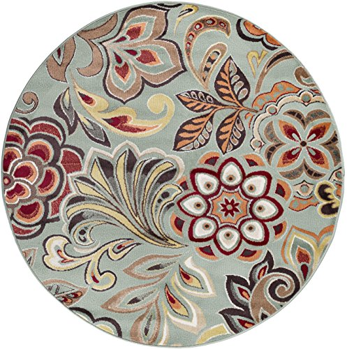 5' Floral Area Rug (Dilek Transitional Floral Seafoam Round Area Rug, 5' Round)
