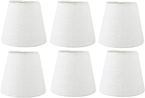 Upgradelights White Linen 6 Inch Empire Clip on Chandelier Lampshade Set of 6 3.5x6x4.5