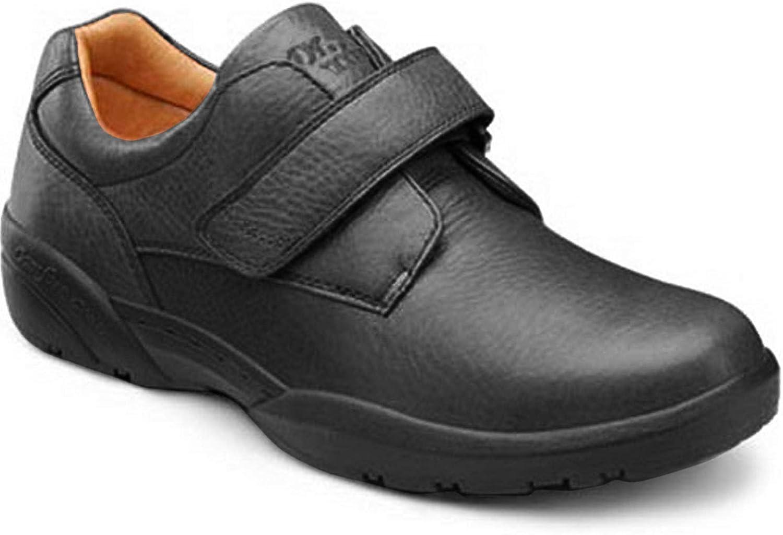 Dr. Comfort William-X - Zapatos casuales diabéticos negros de doble profundidad para hombre