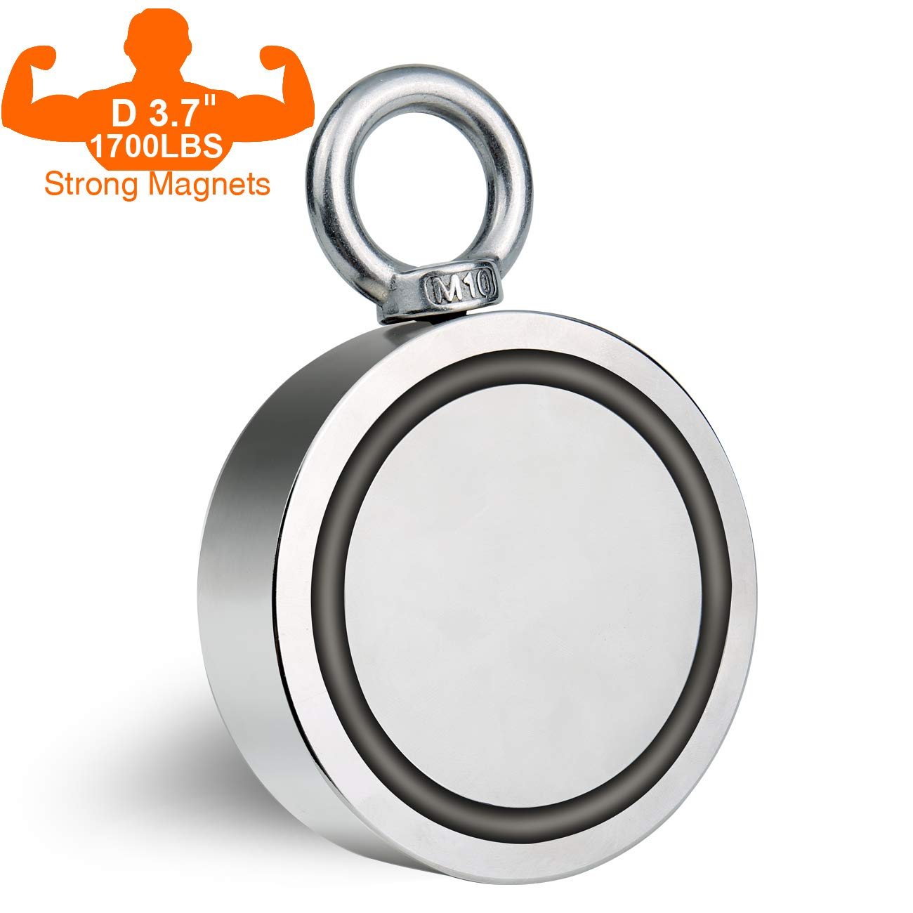 Double Sided Fishing Magnet Large Neodymium Magnet with Eyebolt, Combined 1700 LBS Pulling Force Powerful Magnets for Magnetic Fishing, Treasure Hunting Underwater - 3.7'' (94mm) Diameter