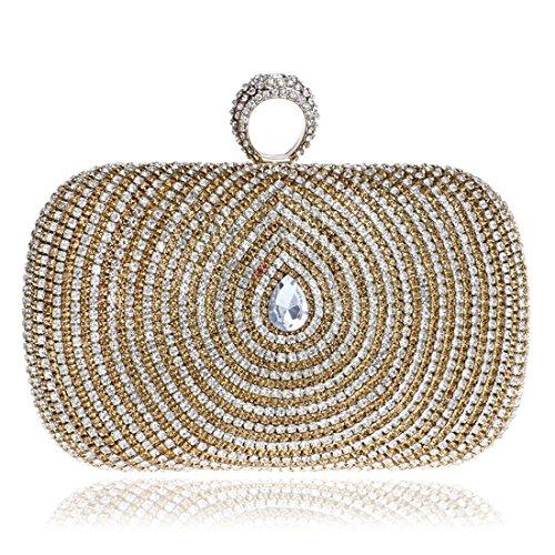 Bag Clutch Diamonds Evening Shoulder Luxury Limeinimukete Bag Womens Gold 5w6xFO0