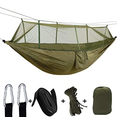 douper Parachute Cloth 2 Person Hammock with Mosquito Net Air Tent Army Green: Sports & Outdoors