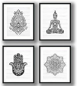 Unframed Prints Set of (4) 8x10's - Black and White Buddha, Hamsa Hands, Mandala and Lotus Flower Wall Art Prints - Bohemian Decor