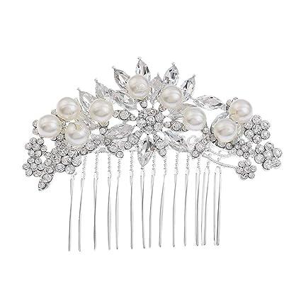 Frcolor 2 unids novia peinetas de pelo de perlas de cristal joyería del pelo  insertado peine f83ac1fd35f7