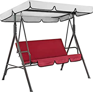 Patio Outdoor Swing Cushion Cover Replacement Haokanba Waterproof Swing Seat Protect Cover Replacement for 3 Seat Swing Chair Canopy Top for Yard Porch Patio Garden Pool Seat Protection (Red)