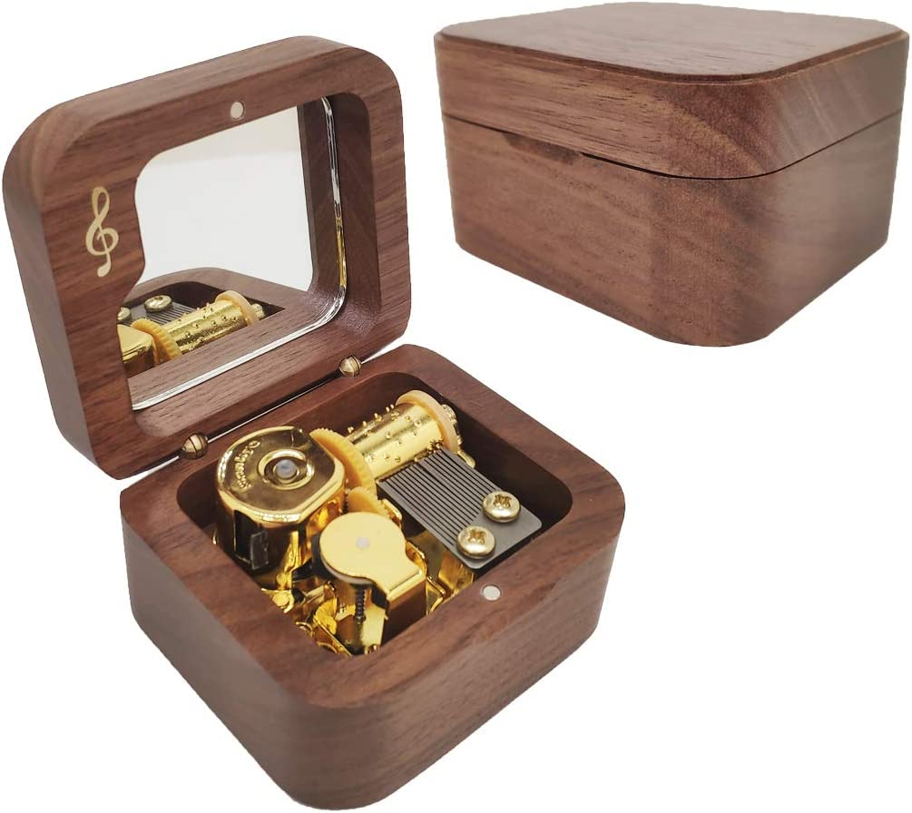 Gbrand Colors of The Wind Natural Wood Music Box Mini Size Wind Up Musical Box,Walnut