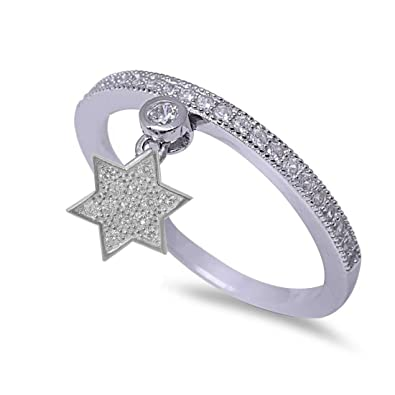 Blue Apple Co Dangling Star of David Jewish Star Ring Half Eternity Round Cubic Zirconia 925 Sterling Silver Petite Dainty