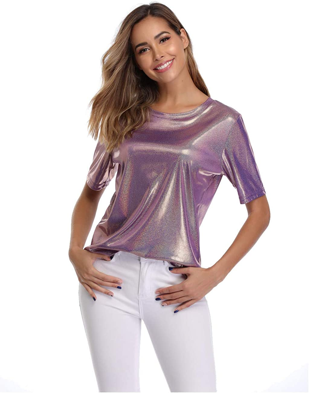 Dilgul Summer Tops And T Shirt per Donna Shimmer Sparkle Holographic Glitter Metallic Short Sleeves Blouse