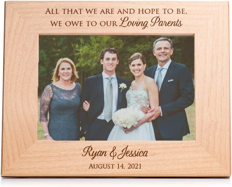 Amazon Com Personalized Wedding Picture Frame For Parents Of Bride And Groom Personalized Wedding Gift For Parents Engraved Wedding Frame By Lifetime Creations Holds 5 X7 Photo Landscape