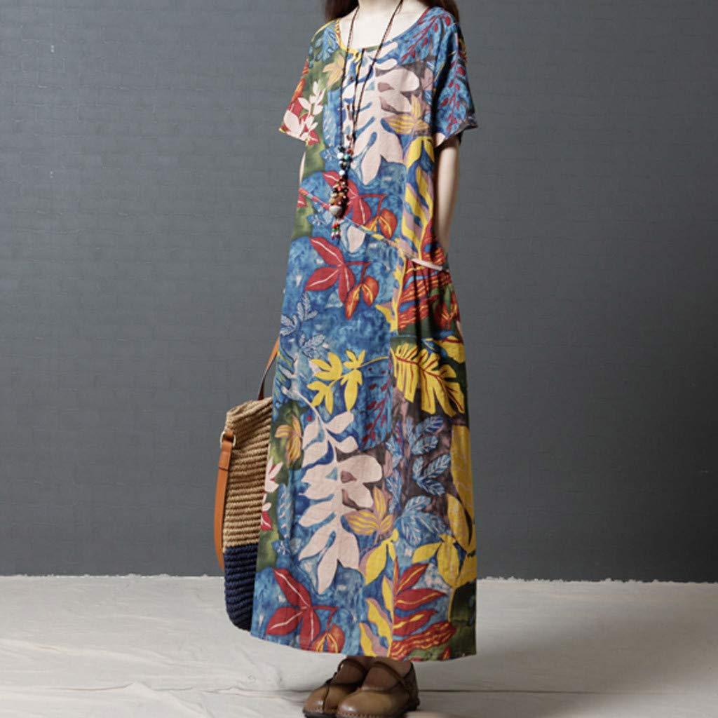 Linen Kaftan Dresses for Women Plus Size Floral Print Crew Neck Sleeveless Patchwork Maxi Dress Casual Summer Vintage Cotton Linen Dress