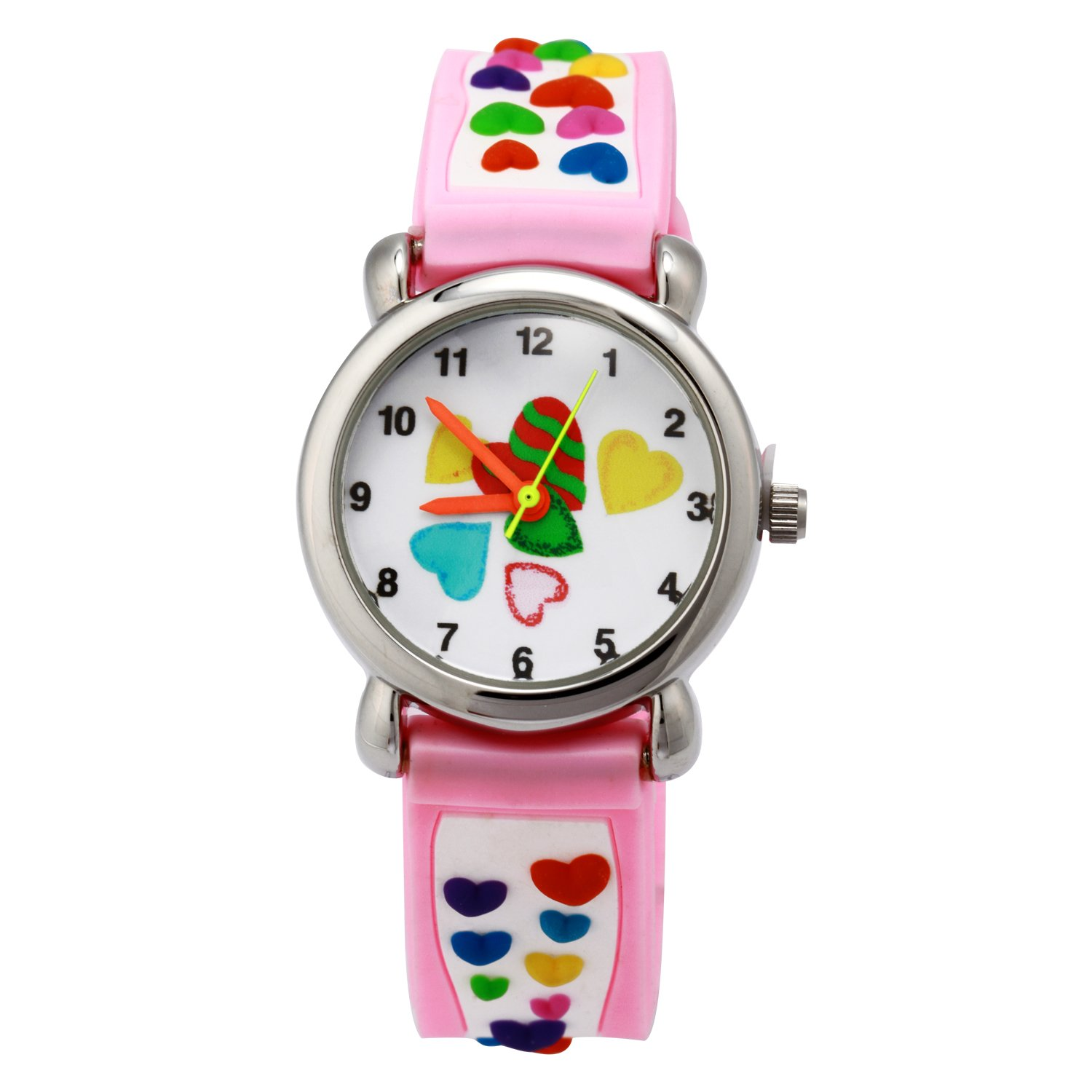 TOPCHANCES Kids Watches 3D Cute Cartoon Children Silicone Wrist Watches Time Manage Teacher Gifts for Boys Girls (Pink Love)