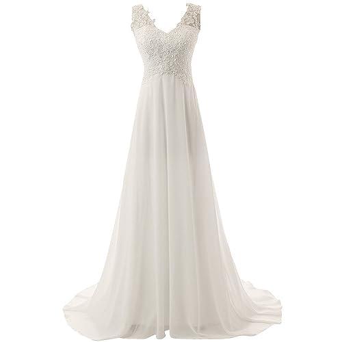 JAEDEN Mujer V cuello Playa Vestidos de novia Largo Gasa Vestido de boda