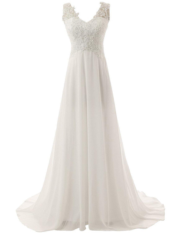 Brautkleid Lang Hochzeitskleider Spitze Chiffon Brautmode V ...