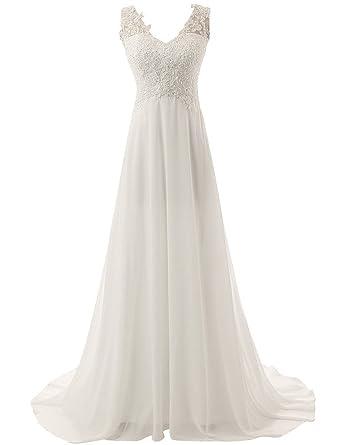 JAEDEN Elegante V-Ausschnitt Spitze Chiffon Hochzeitskleider ...