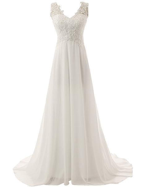 c1cef1f3b JAEDEN Mujer V cuello Playa Vestidos de novia Largo Gasa Vestido de boda   Amazon.es  Ropa y accesorios