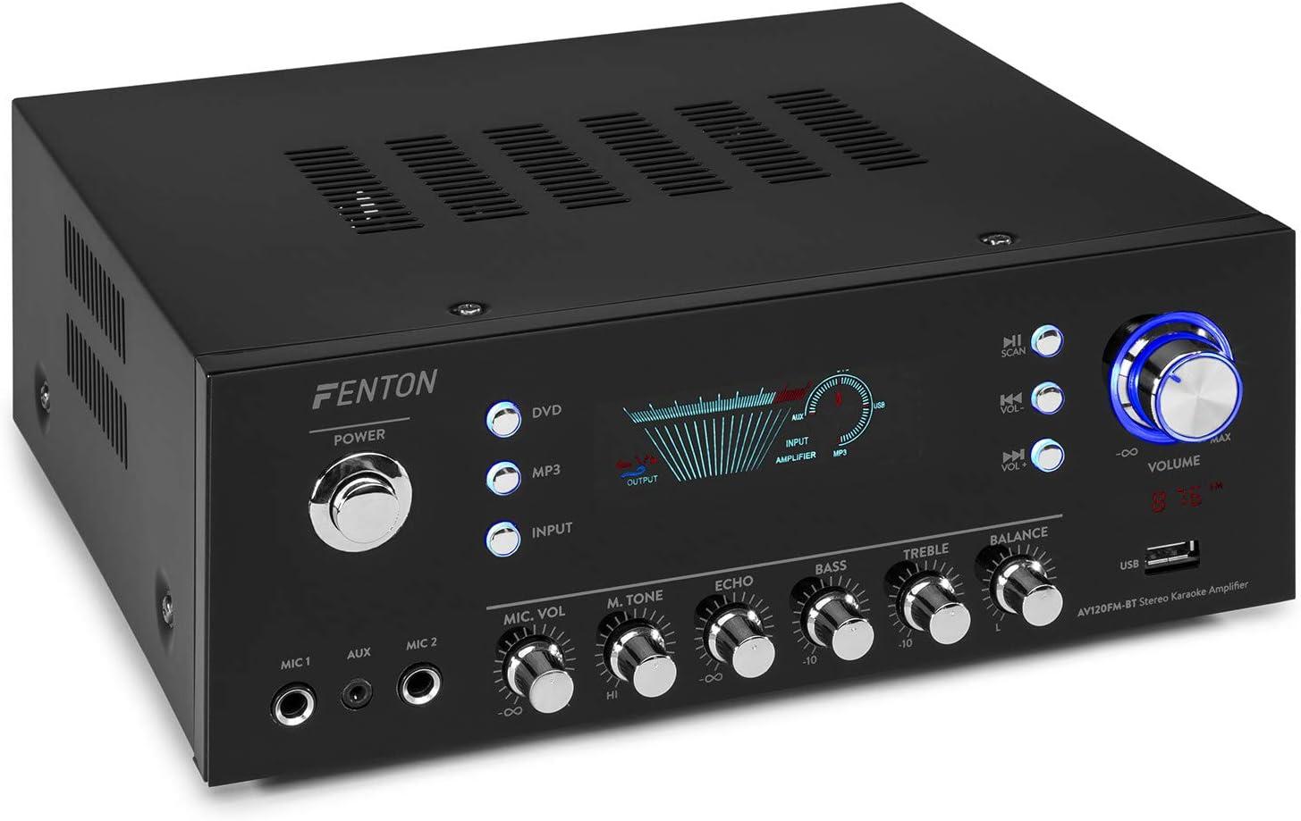 Fenton AV120FM - Amplificador estéreo HiFi (2 x 60 W RMS (8 ohmios, 4 / 8 ohmios, Bluetooth, USB, Radio FM, Pantalla Digital, Echo / Bass / Treble), Color Negro
