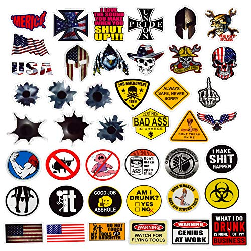 Hard Hat Stickers 50 Pack, BOENFU Union American Patriotic Accessories for Helmet, Hardhat, Welding, Construction, Molon Labe, Military, Ironworker, Lineman, Oilfield, Electrician, Pipeliner (Hard Union Hat Stickers)