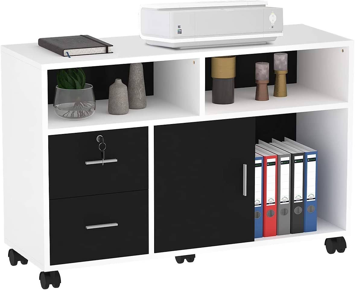 2 Drawer Wooden Side Table Filling Drawer Pedestal Office Storage With Lock Fully Assembled Home Office Under Desk UK 3-5 Day,Khaki Mobile File Cabinet