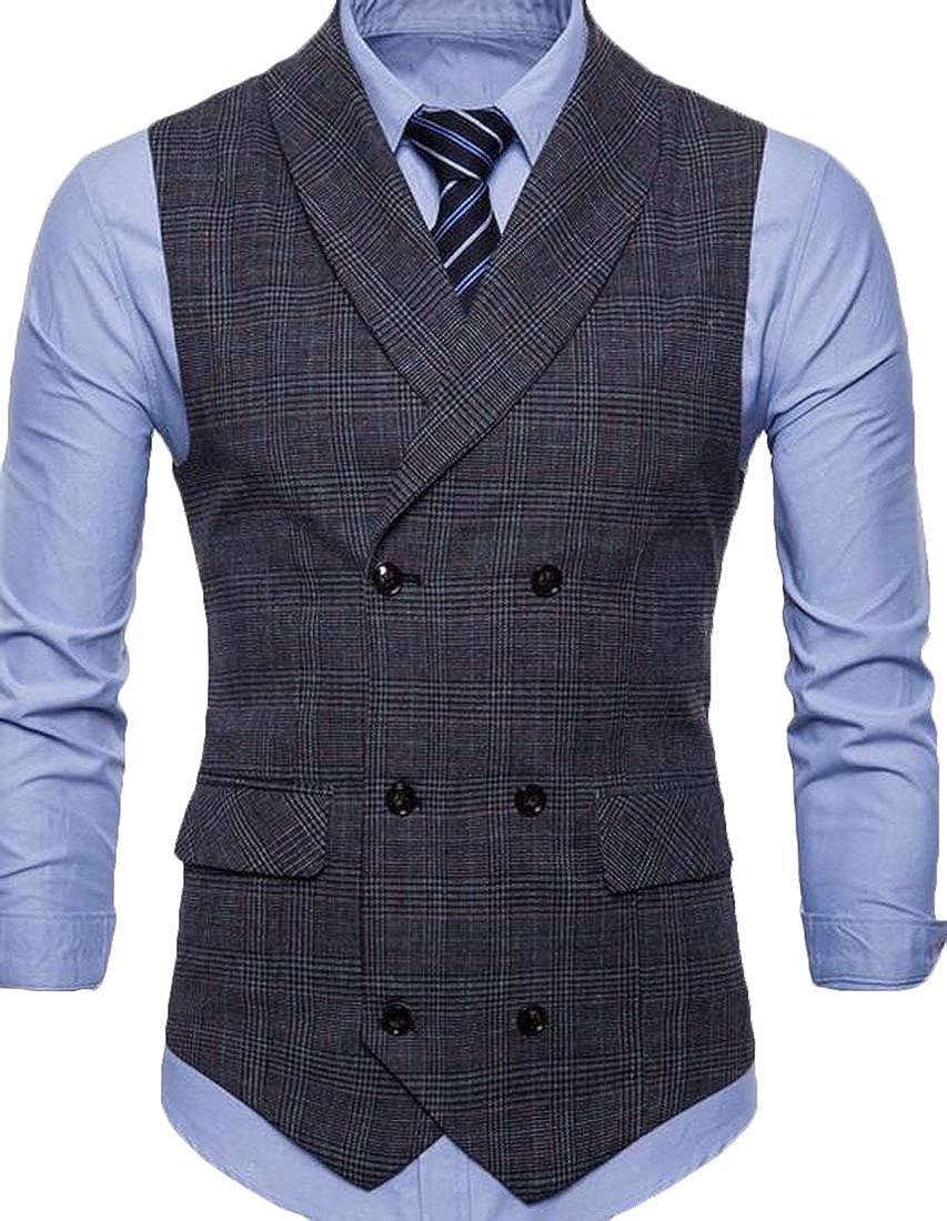 Gocgt Men's Slim Fit Double-Breasted Plaid Suit Vest Dress Waistcoat Top
