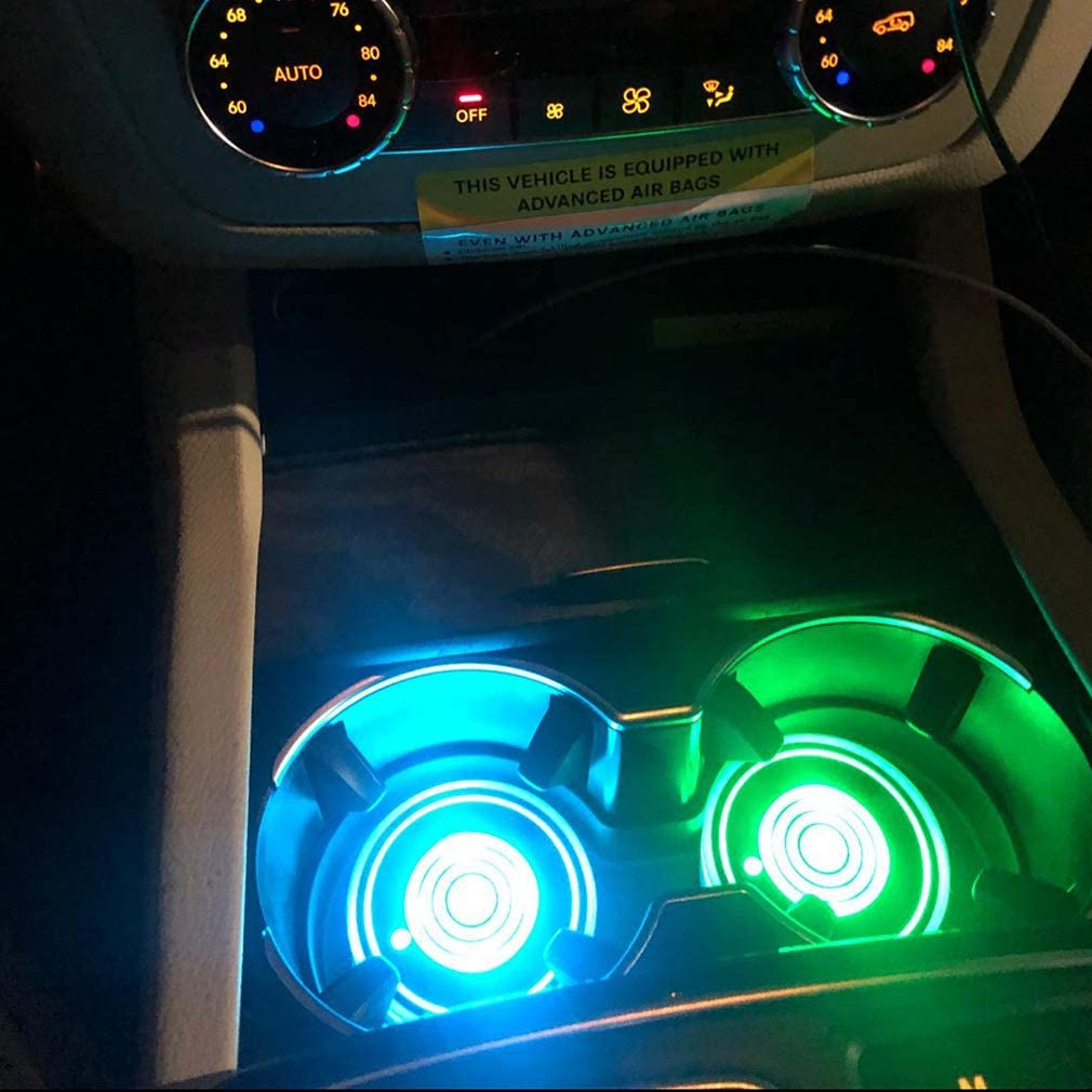 Sanpanie 2+2PCS LED Car Cup Holder Lights 7 Colors Changing USB Charging Mat Cup Pad Coaster Insert LED Interior Atmosphere Lamps