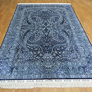 6x9 Persian Rug Pure Silk Navy Blue Oriental Handmade Beautiful Area Carpet