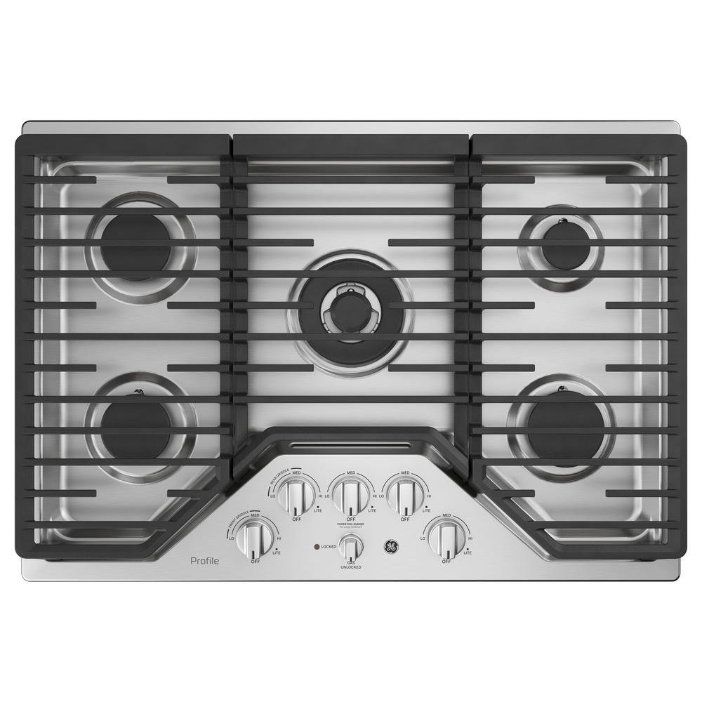 GE Profile PGP9030SLSS 30 Inch Natural Gas Sealed Burner Style Cooktop with 5 Burners in Stainless Steel