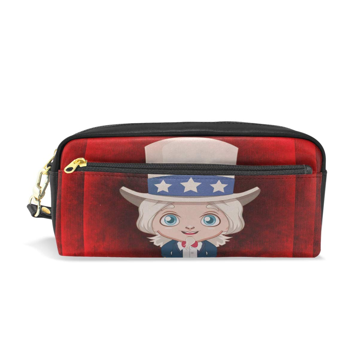Red America Boy Leather Student Pencil Case Cosmetic Pen Bag Makeup Pouch for Teen Girl