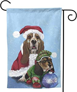 Only Pineapple Christmas Winter Santa Basset Hound Dog Seasonal Family Welcome Double Sided Garden Flag Outdoor Funny Decorative Flags for Garden Yard Lawn Decor Party Gift Many Sizes