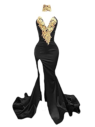 9b8cb95accf Dressesonline Women s Sexy Mermaid Prom Dress Gold Appliques Long Split  Evening Gowns US2