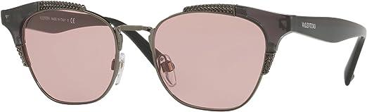 Valentino Womens VA4027 VA//4027 5063//84 Dark Opal Grey Square Sunglasses 51mm