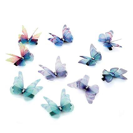 43b4fa1e21 10 Pcs fermagli per capelli con Strass Chiffon farfalla Snap clip molletta  per Bambina Donna Ragazze: Amazon.it: Bellezza
