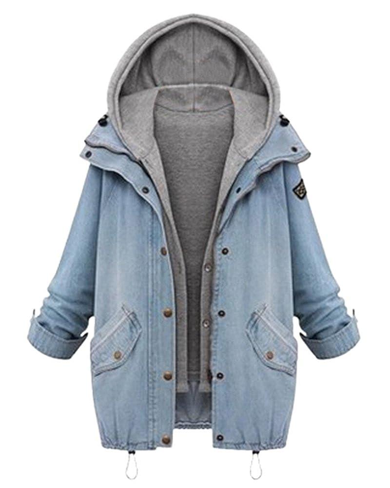 Femmes Veste Manteau Hiver 2 En 1 Denim Manteaux Chaud Jacket Loisir Encapuchonné Parka Hoodie Outwear