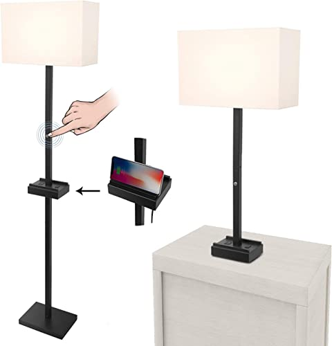 Floor Lamp,3-Way Touch Control Dimmable Modern Standing Lamp,with AC Outlet 2 USB Charging Ports,Linen Lampshade