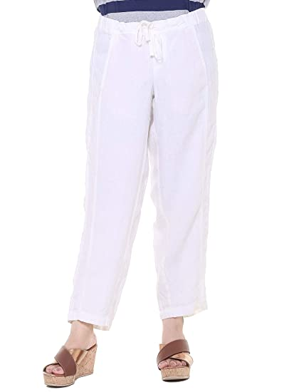 44d35299ca9 Twist Women s Navy Blue Semi Casual Pure Linen Trousers Pant with Contrast    Free Shipping  Amazon.in  Clothing   Accessories
