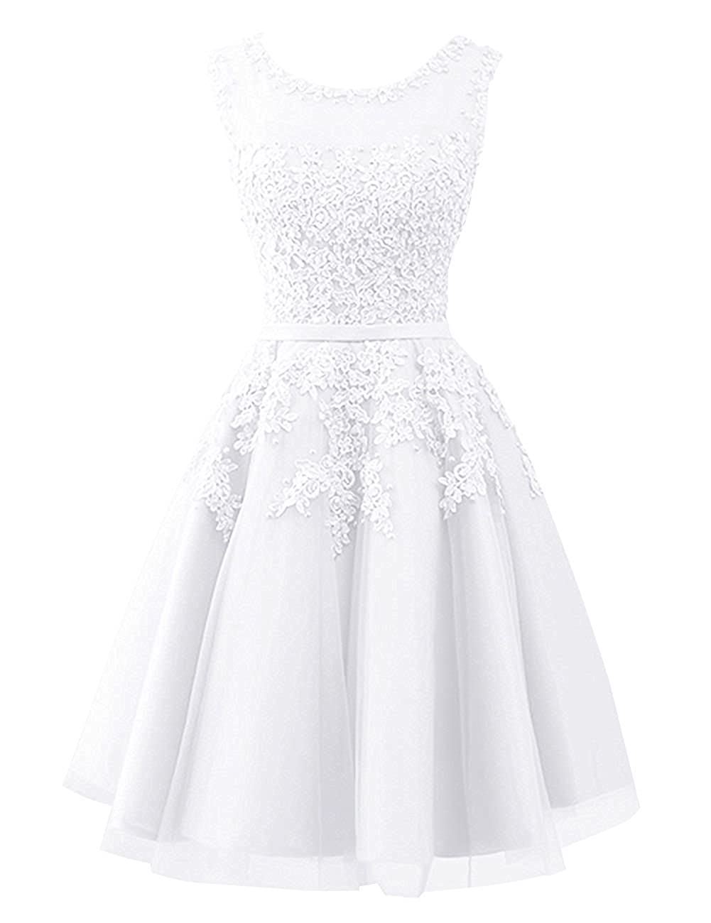 White Cdress Tulle Short Junior Homecoming Dresses Prom Evening Dress Party Formal Gowns Lace Appliques