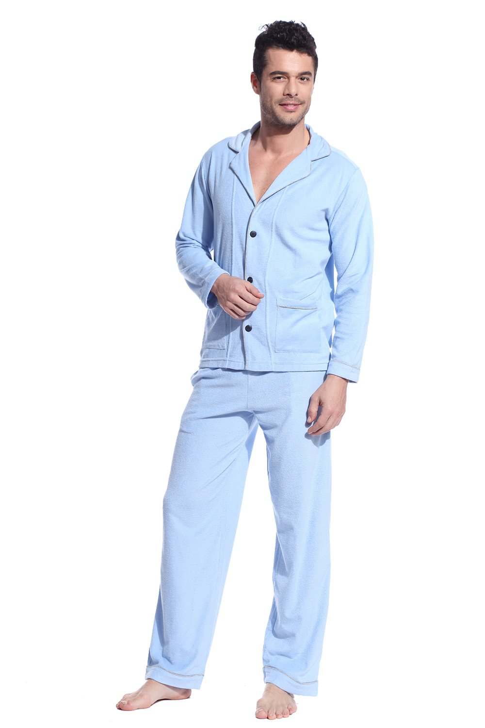 Godsen Men's Cotton Pajamas Set Lounge Sleepwear Suit 8721801