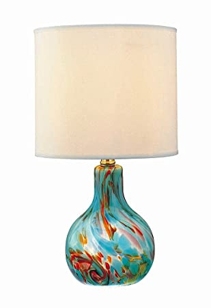 Lite Source Ls 20073aqua Pepita Table Lamp Aqua Glass With Fabric