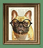 french bulldog poster - Grouchy McPoutypants the French Bulldog with round glasses illustration beautifully upcycled dictionary page book art print