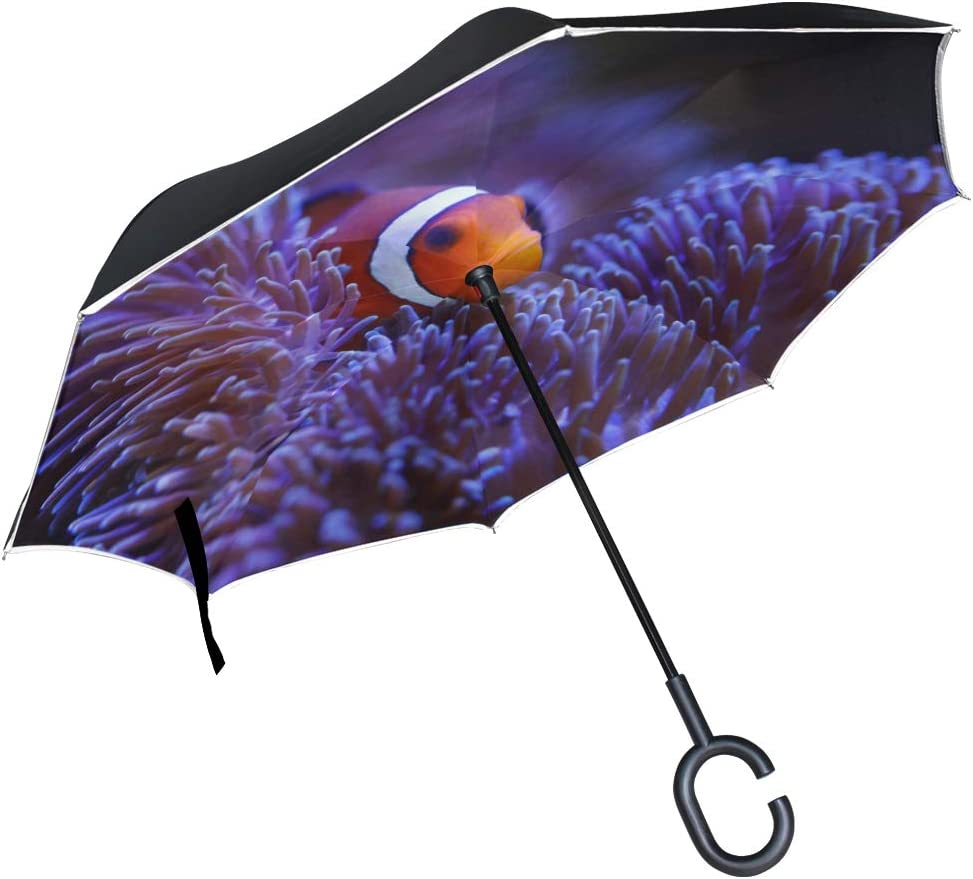 Double Layer Inverted Inverted Umbrella Is Light And Sturdy Ocellaris Clownfish Anemone Reverse Umbrella And Windproof Umbrella Edge Night Reflection