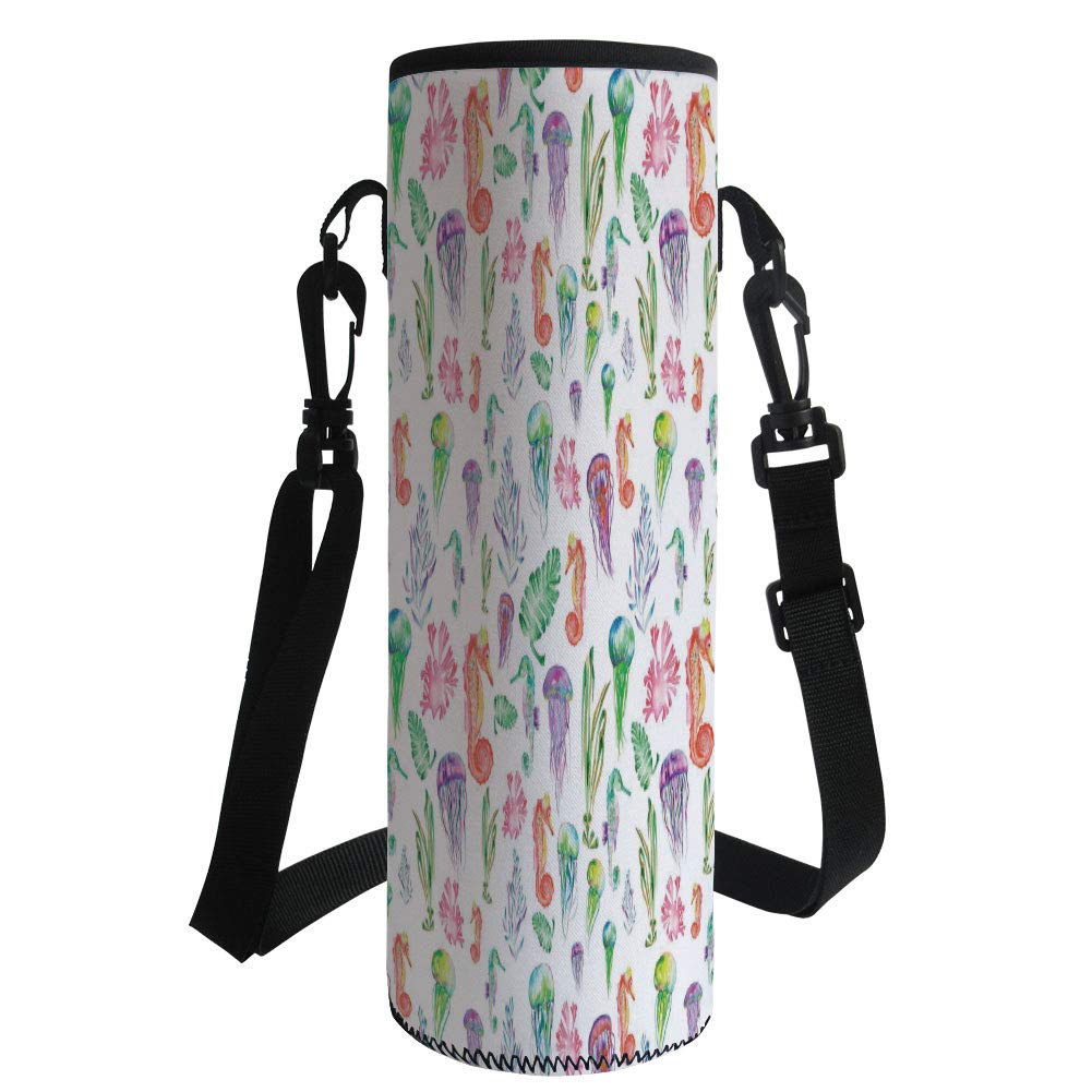 iPrint Water Bottle Sleeve Neoprene Bottle Cover,Jellyfish,Pattern with Colorful Seahorses Jellyfish and Seaweed Algae Fun Cheerful Design,Multicolor,Fit for Most of Water Bottles