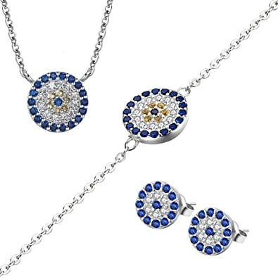 2b442e0f026320 TONGZHE Sterling Silver 925 Round Blue Evil Eye Pendant Necklace Stud  Earring Link Bracelet with CZ