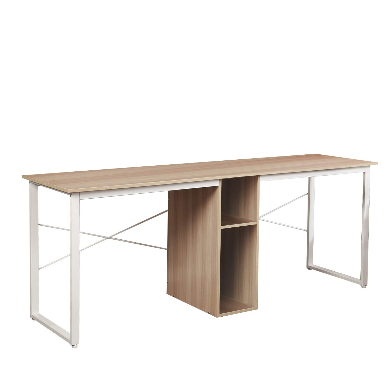 Soges Large Dual Desk 2-Person Workstation Desk 78 inches Double Computer Desk with Storage Box Home Office Desk Writing Desk Teens Desk White Oak LD-H01MO