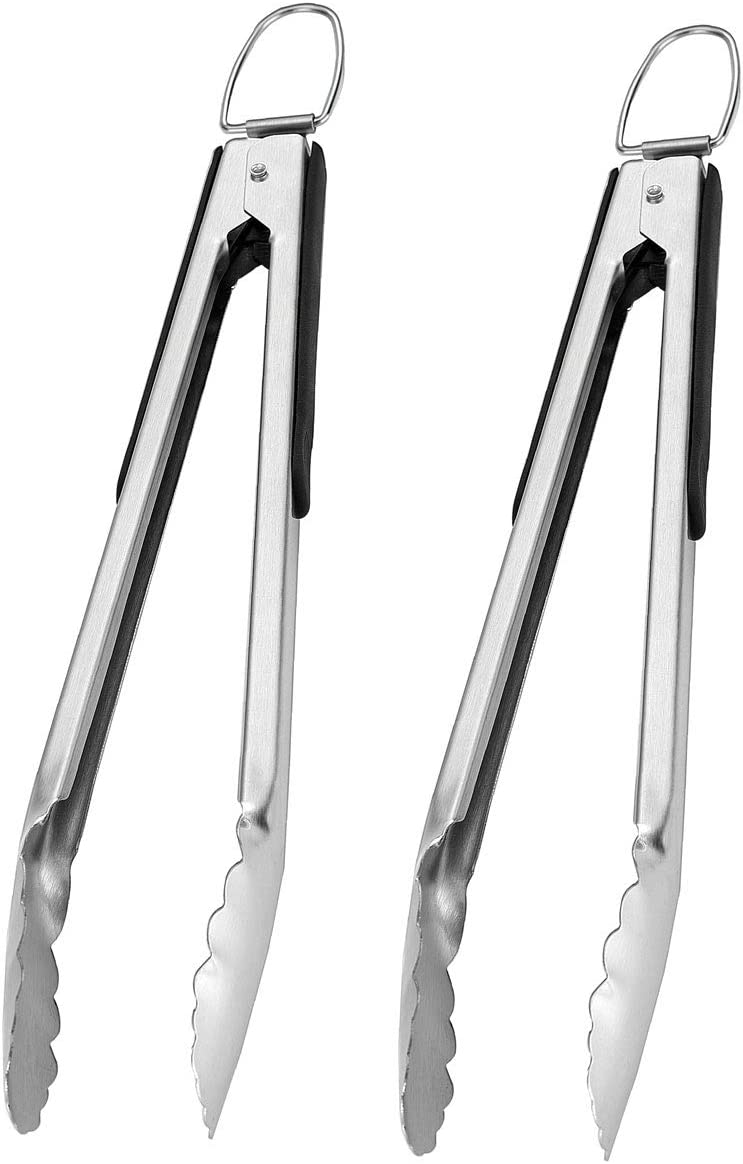 GRILLJOY Kitchen Tongs for Cooking Tongs Set – 2pcs 14.4IN Non-slip Stainless Steel Tongs for Cooking/Grilling – Rust-Resistant Locking Grill Tongs for Cooking BBQ – Nonslip Silicone Comfort Grip