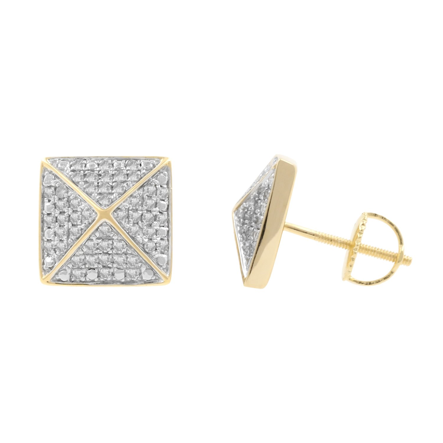 0.50ct Diamond Pyramid 11mm Wide Mens Iced Stud Earrings in Yellow Gold Over 925 Silver-1/2 CTTW (I-J, I2-I3)