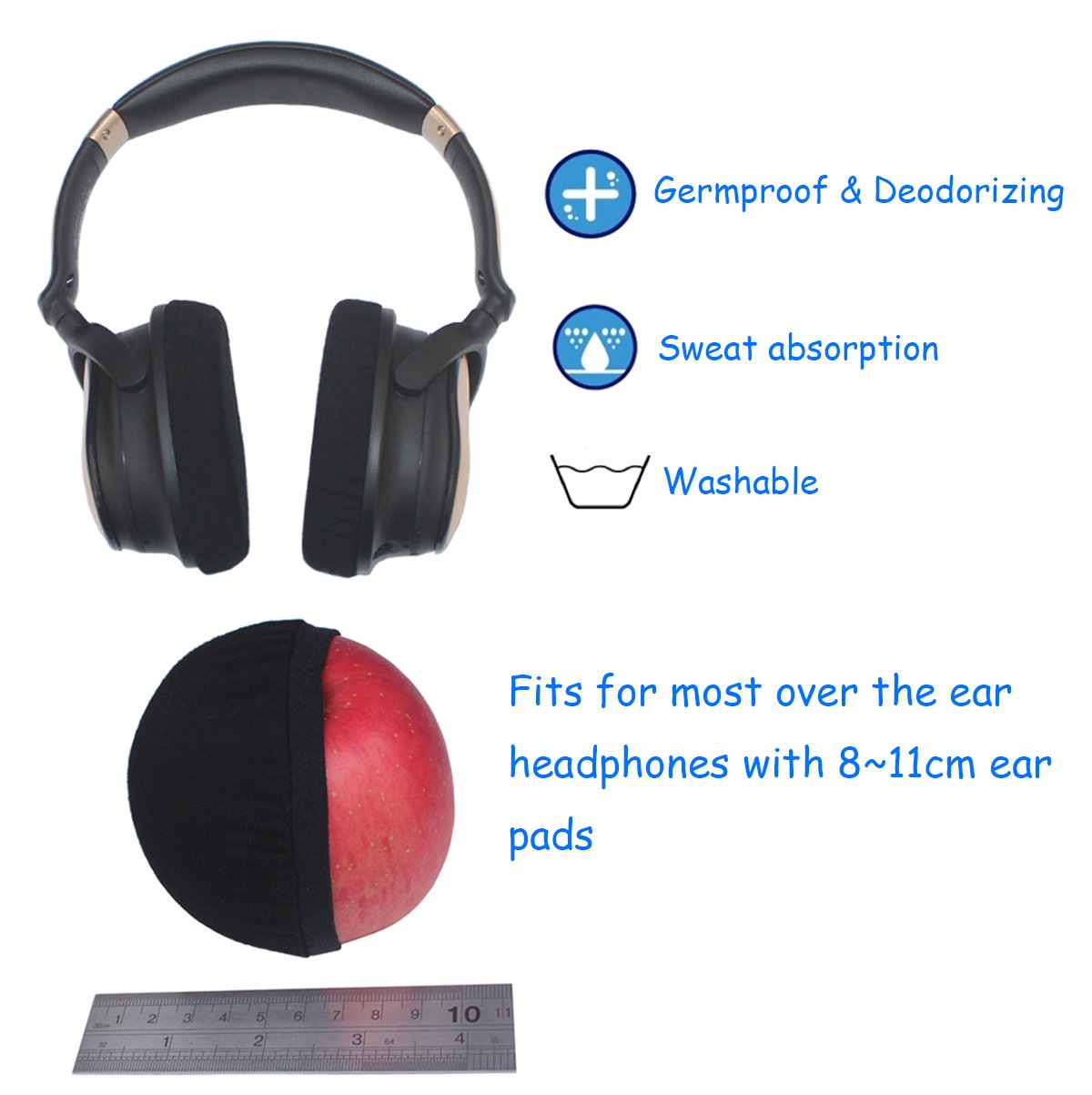 Bingle Super Stretch Headphone Covers Sweat Absorption Ears And Speakers Protector Washable Germproof Deodorizing Ear Cover For Most 811cm Around Headphones