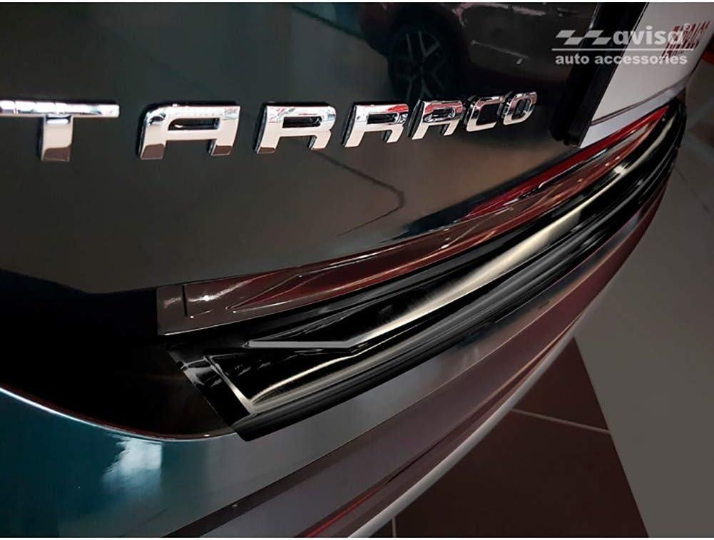 Color Negro Avisa 2//45196 Acero Inoxidable Protector de Parachoques Trasero para Seat Tarraco 2019