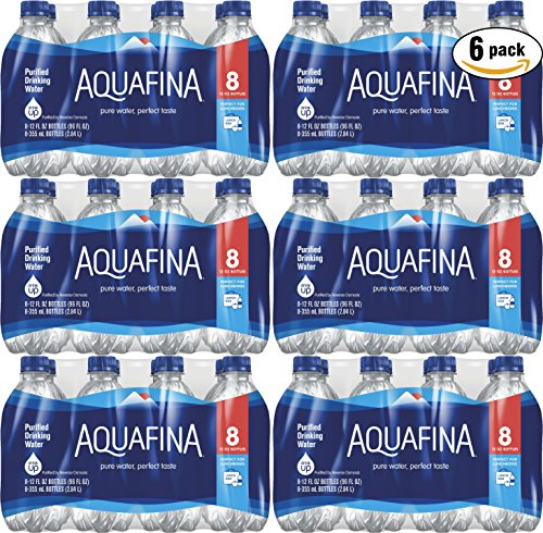Aquafina Water, 12oz Bottle (Pack of 6, Total of 48 (12 Ounce Bottle Water)